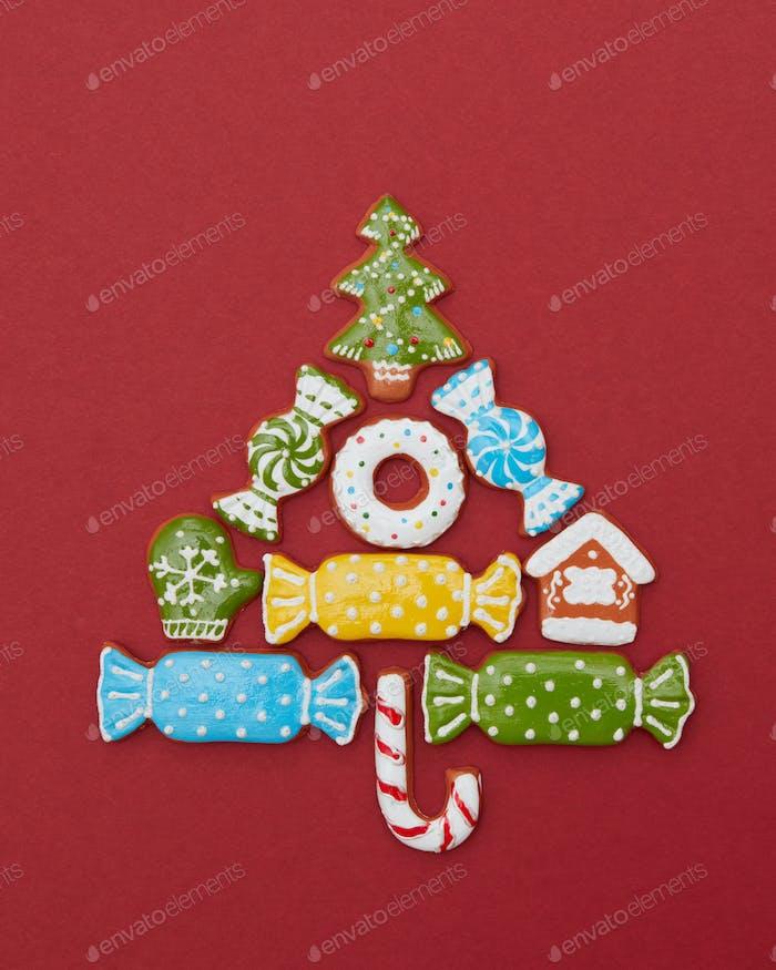 Weihnachtskarte mit Plätzchen Baum