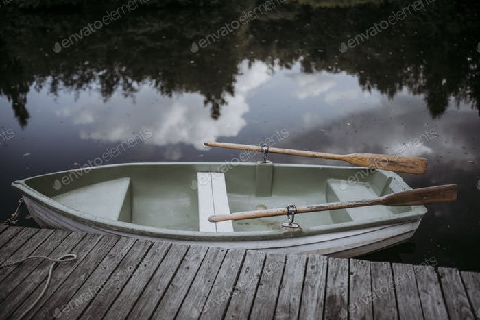 Old boat on a lake