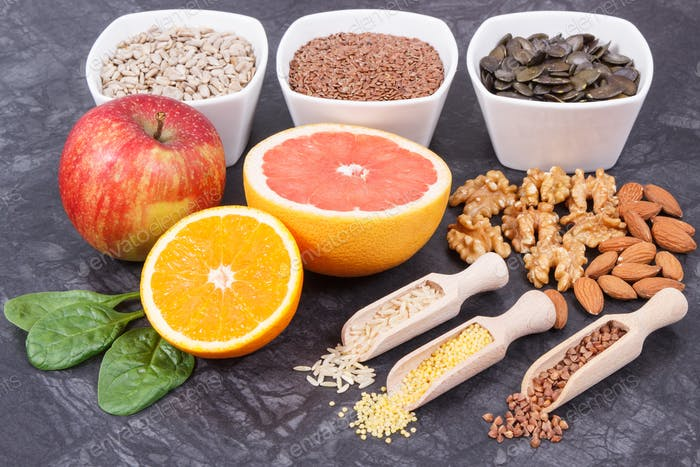 Products and ingredients as source vitamins and minerals. Beneficial eating for thyroid gland