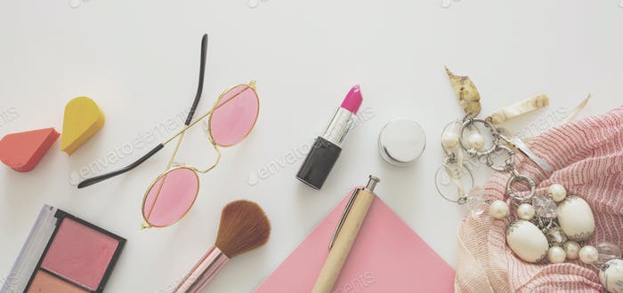 Essentials fashion female accessories against white color background,