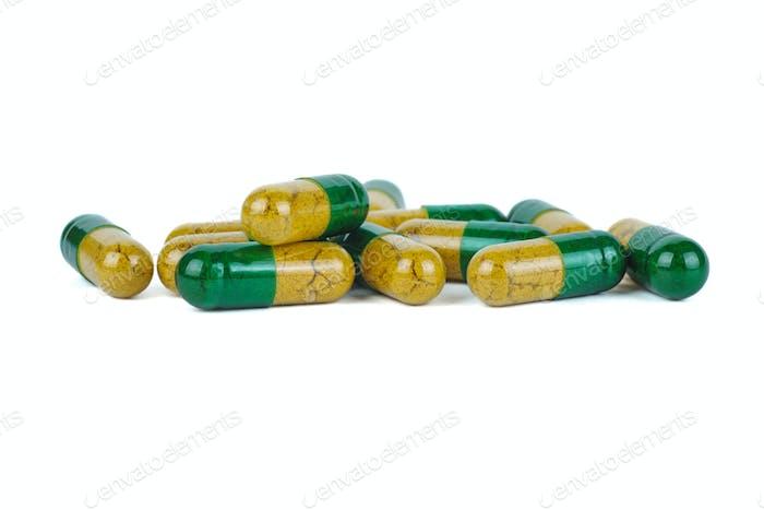 Few yellow-green pills