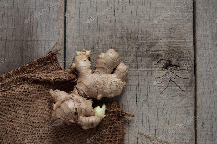 Ginger on old wooden