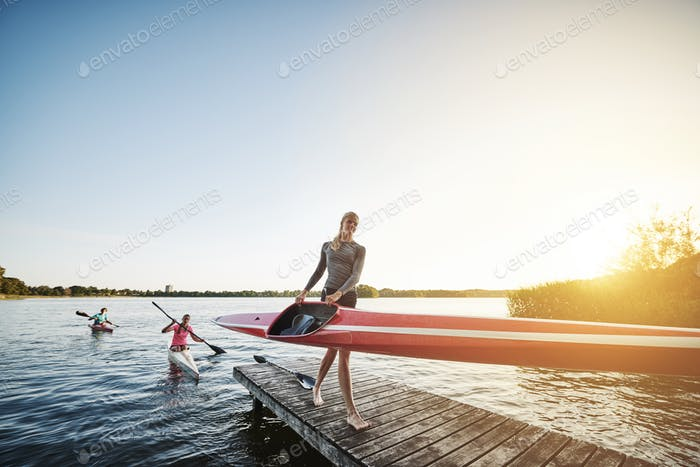Rowing team after training