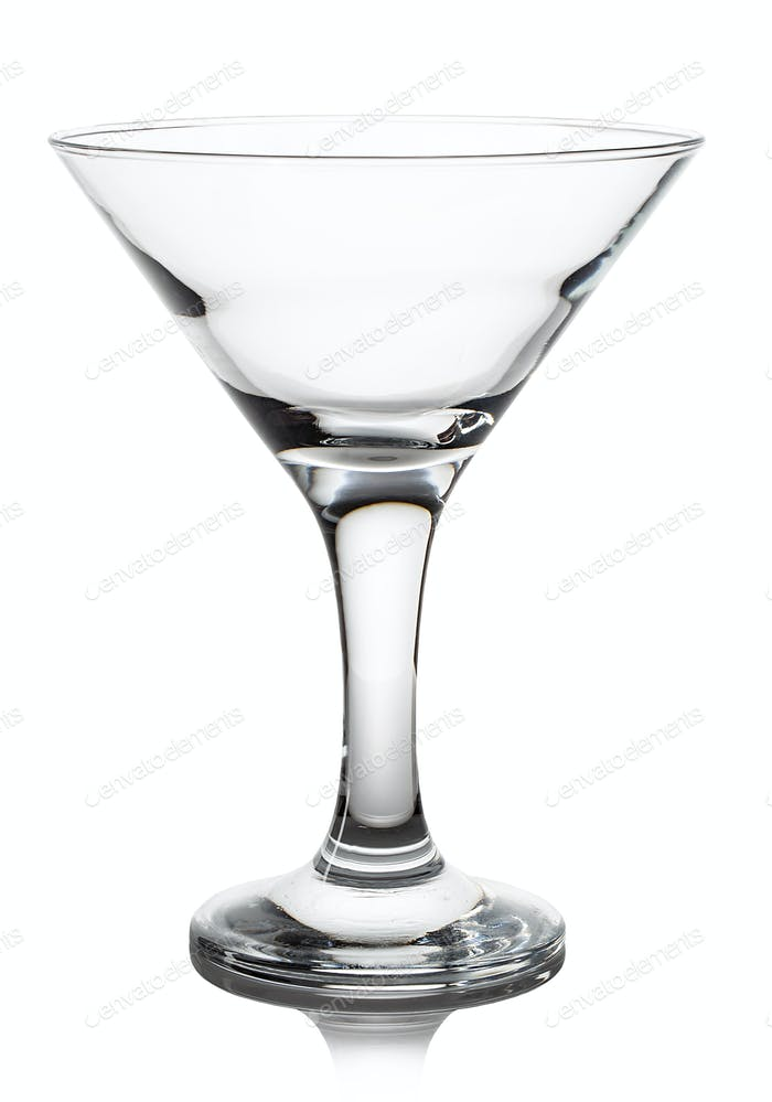 Empty glass of martini close-up isolated on a white background.