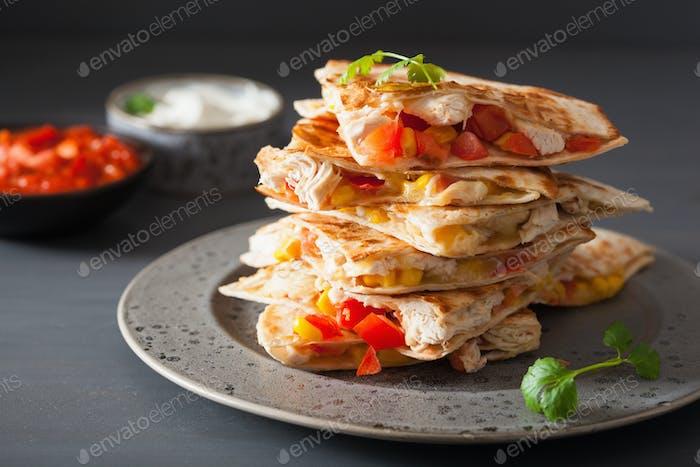 mexican quesadilla with chicken tomato corn cheese