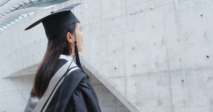 Side profile of woman graduation