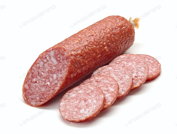 salami sausage on white background