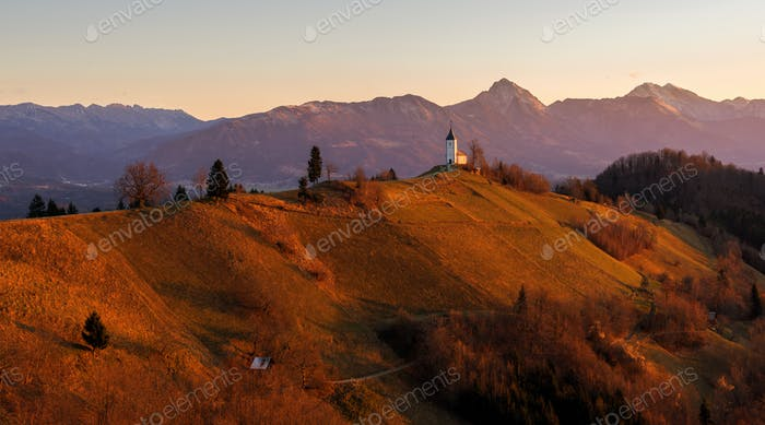 Jamnik church on an autumn morning