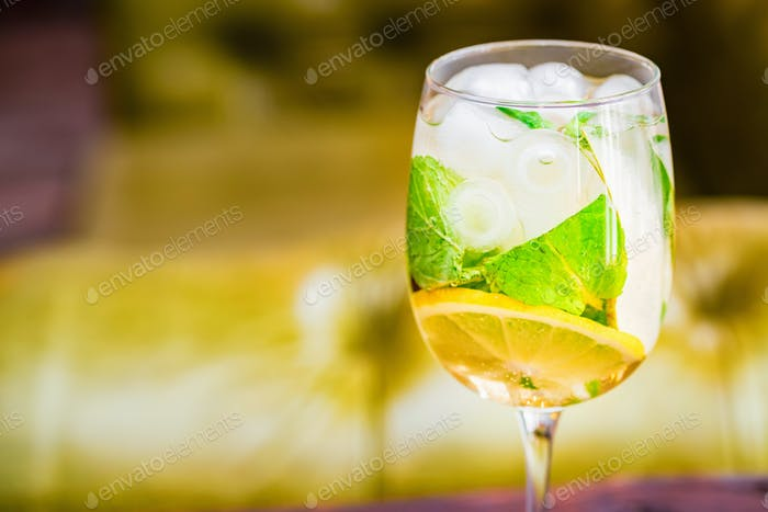 Glass with delicious fresh homemade mojito on blurred background