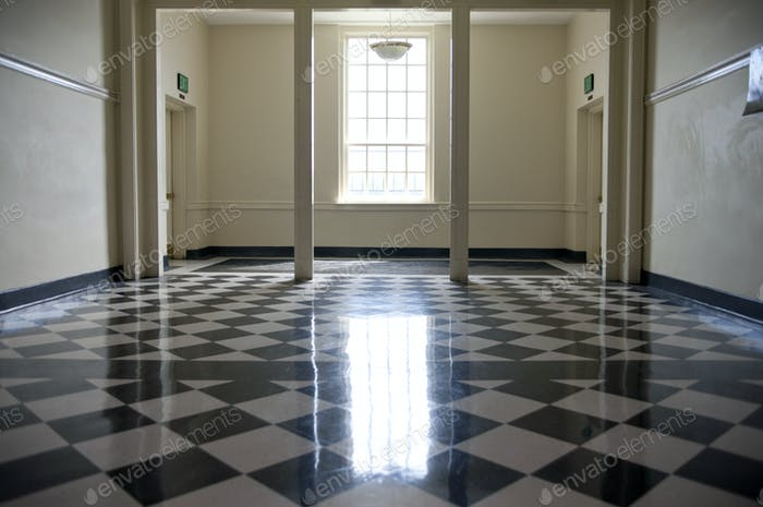 Shiny Checkered Floor of a School