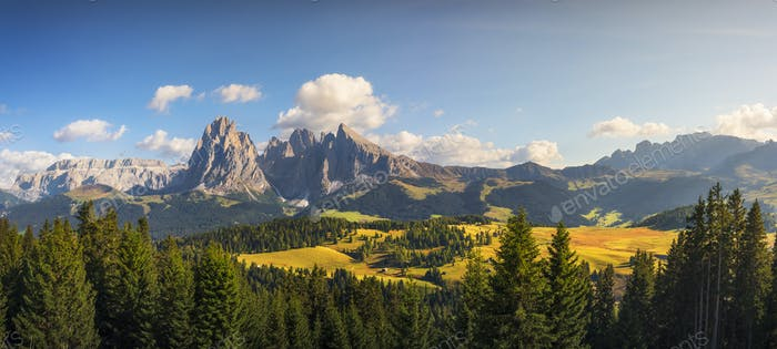 Alpe di Siusi or Seiser Alm and Sassolungo mountain, Dolomites Alps, Italy.