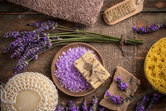 Natural soap, lavender and salt