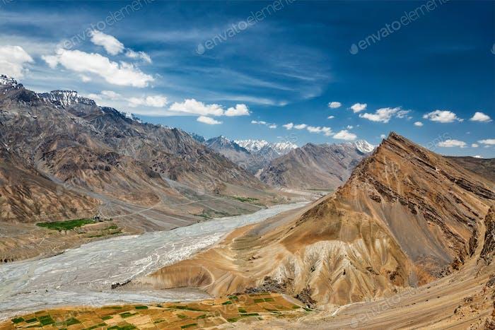 Blick auf Spiti Tal im Himalaya