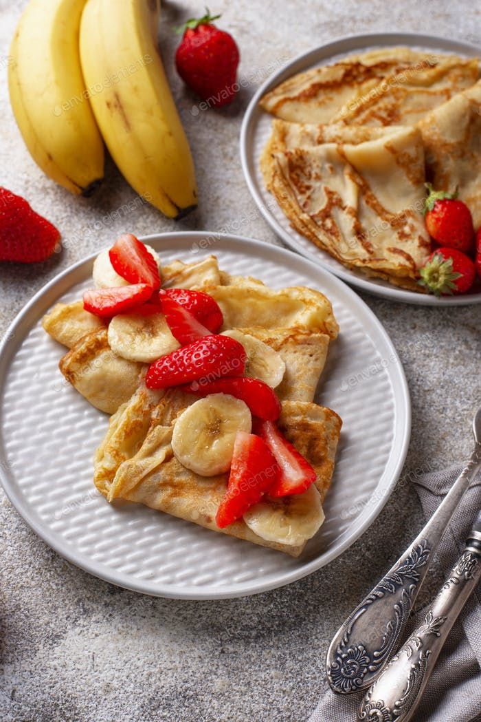 Crepes with strawberry and banana