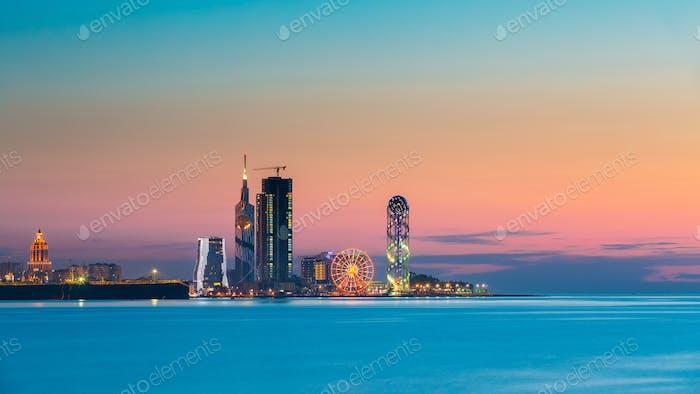 Batumi, Adjara, Georgia. Panorama of illuminated resort town at
