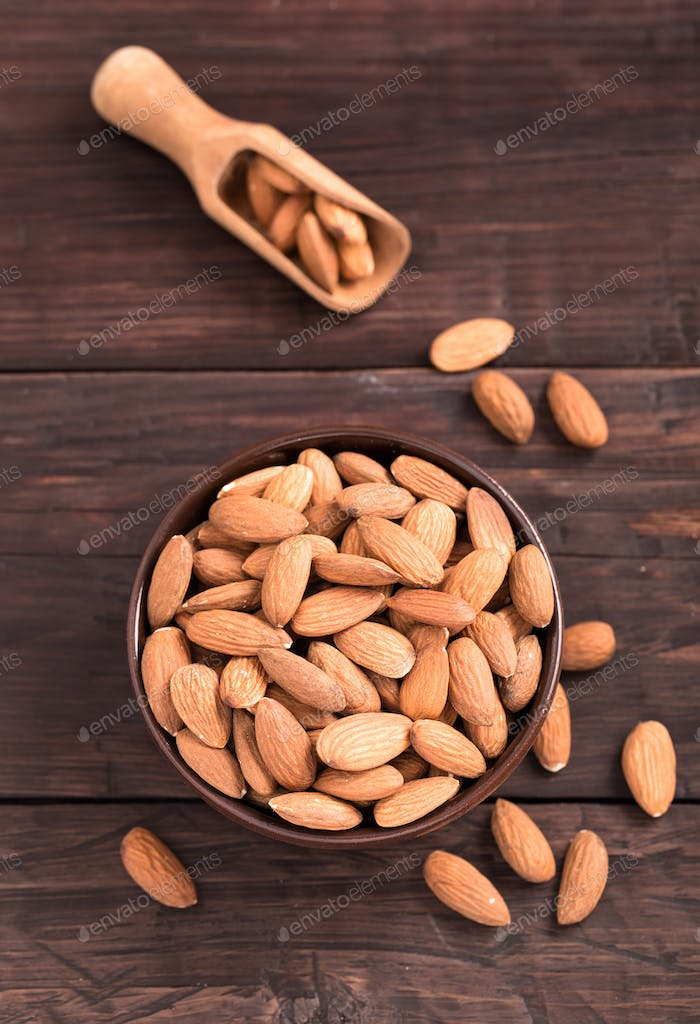 Bowl of almond above