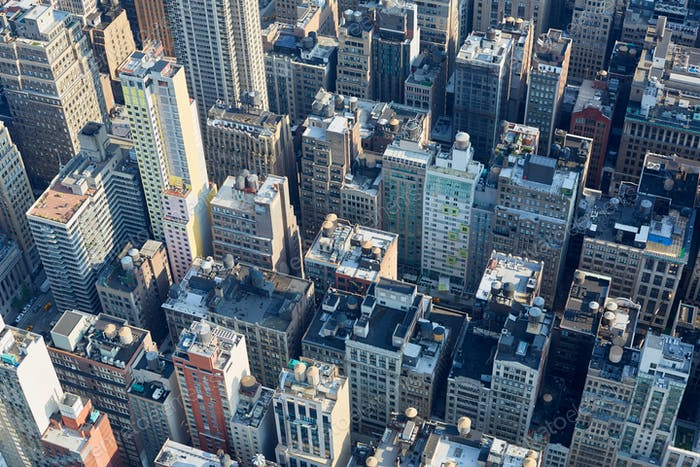 New York City Manhattan aerial clear view with skyscrapers