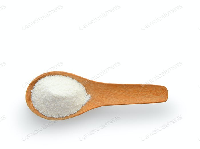 Creamer, Coffee whitener, Non-dairy creamer in wood spoon on whi