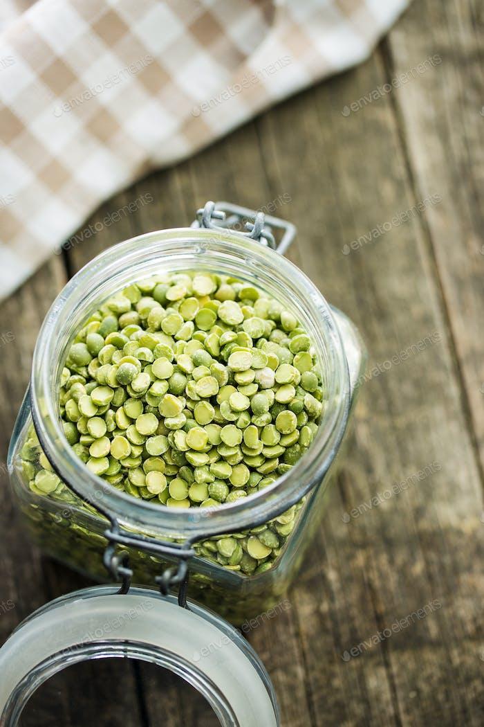 Green split peas in jar.