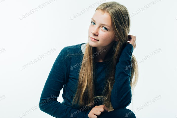 Beauty young woman with long hair teenage