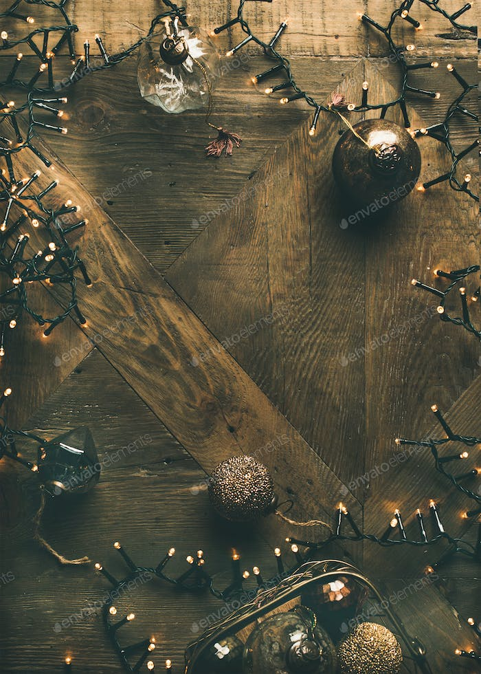 Christmas, New Year background. Holiday preparation flat-lay, vertical composition