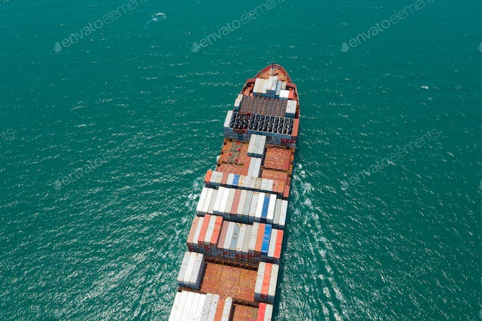 Top view of container truck