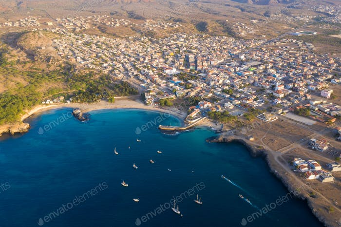 Aerial view of Tarrafal beach in Santiago island in Cape Verde -