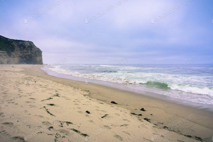 Sandy beach on the Pacific Ocean coastline on a foggy afternoon, California