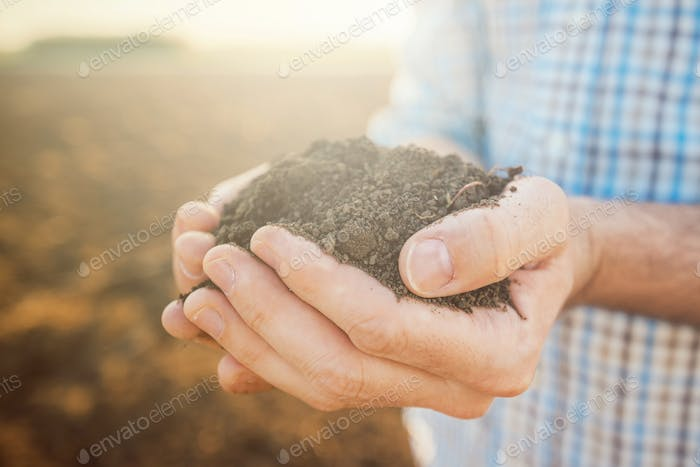 Handful of soil, close up of farmer's hands