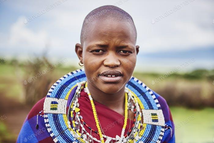 Portrait of Masai man in Africa