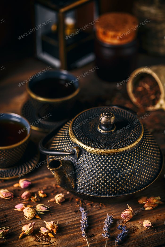 Traditional oriental iron teapot