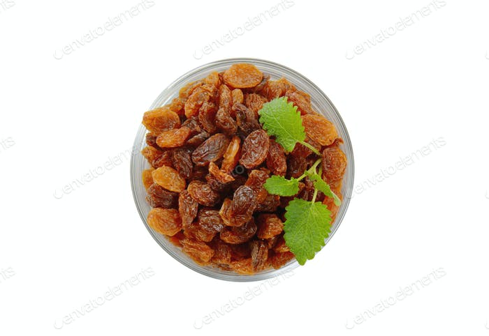 glass of sweet raisins