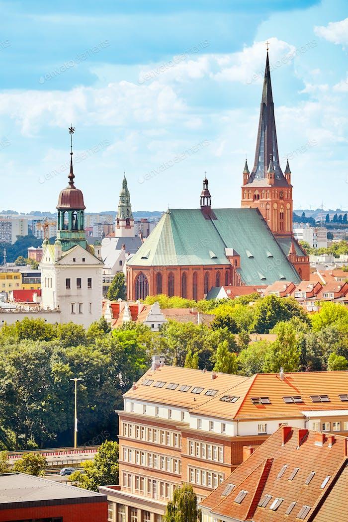 Szczecin cityscape on a sunny day, Poland.