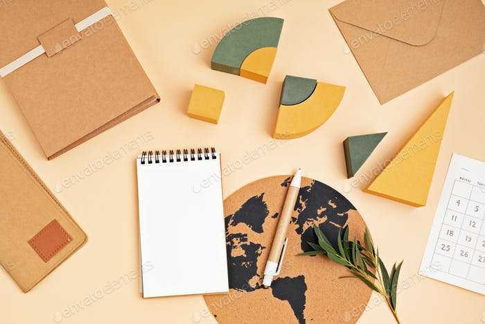 Desktop with clipboard, recyclable office supplies. Home office, schedule mockup