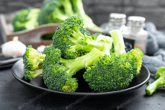 Fresh raw broccoli on board