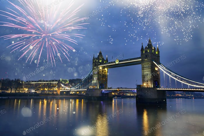 Famous Tower Bridge in the evening with fireworks, London, Engla