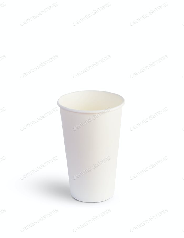 White paper cup for drinks isolated on a white background