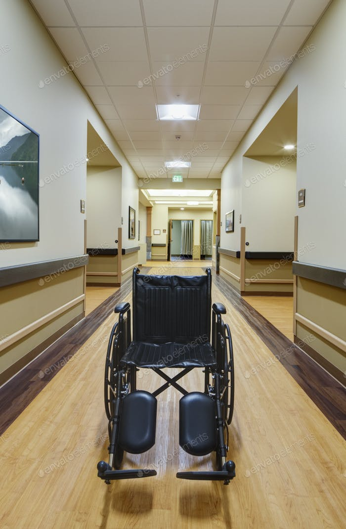 Empty wheelchair in assisted living facility