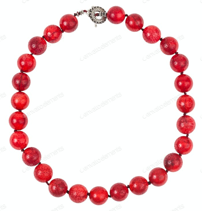 round necklace from red sponge coral beads