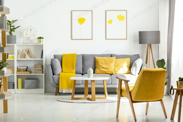 Yellow Wooden Armchair And Table In Living Room Interior With Po Amazing Wooden Living Room