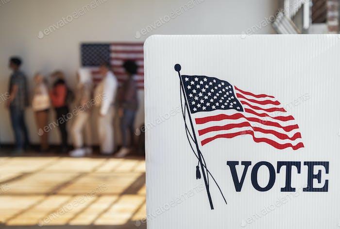 Cabina de votación de la democracia ameicana