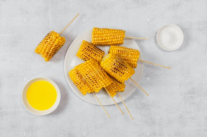 Grilled Corn on the Table