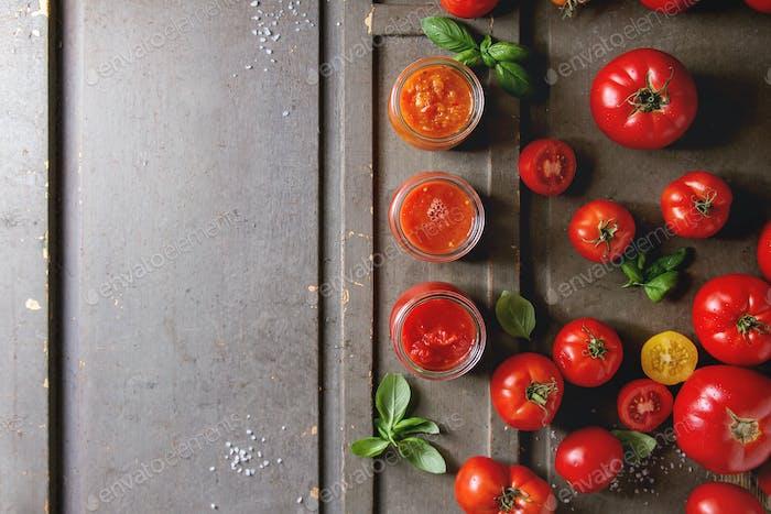 Variety of tomato sauces