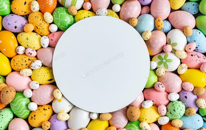 Creative layout made with colorful  Easter eggs. Minimal Easter background. Spring holidays concept.