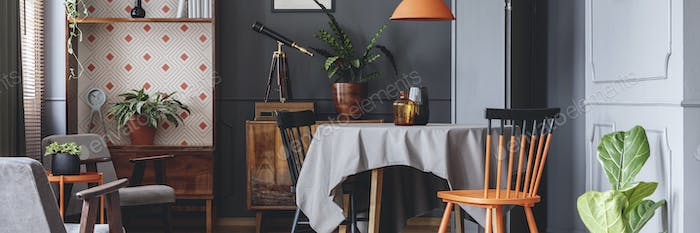 Dark grey dining room interior with retro cupboards, fresh plant
