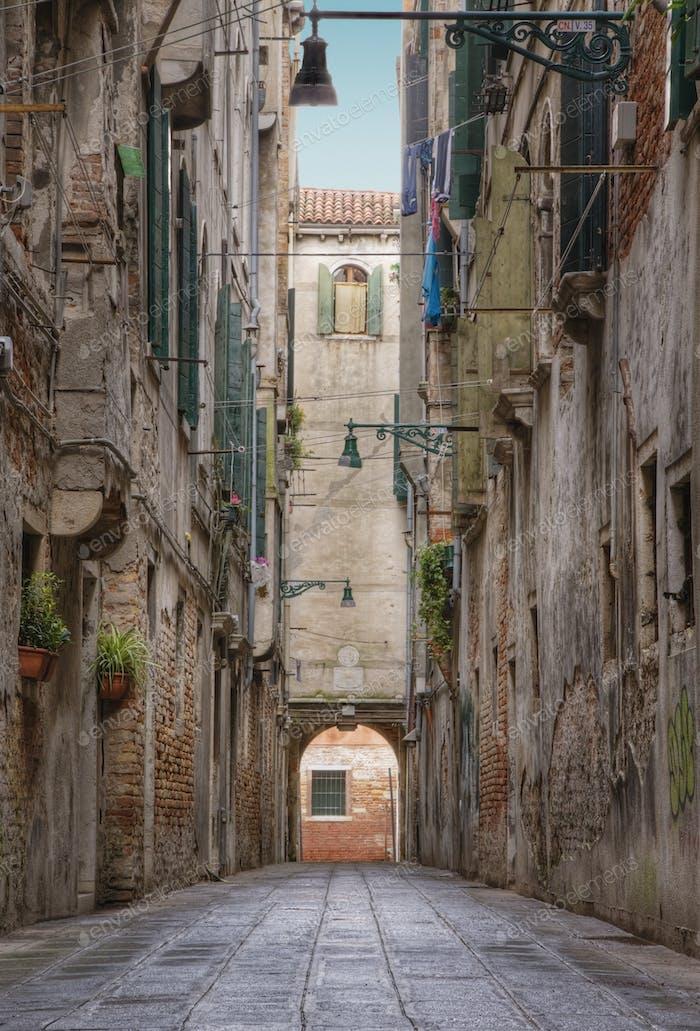 Alley Between Old World Buildings