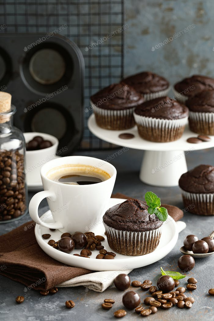 Coffee chocolate muffins for breakfast