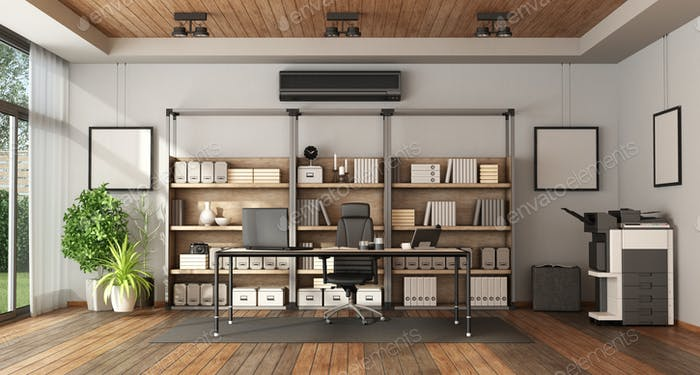 Modern office with bookcase and desk