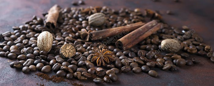 Close-up of roasted coffee beans,