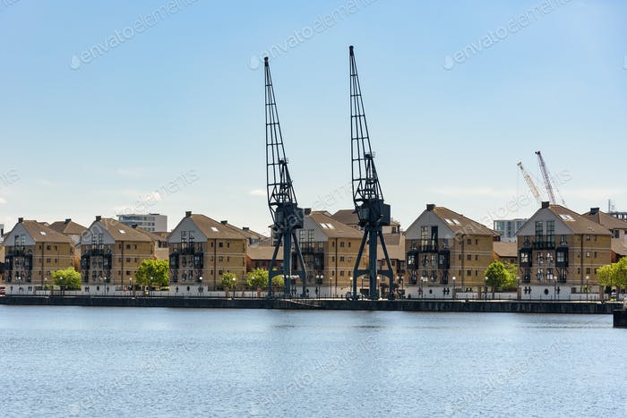 Houses at Royal Victoria Dock in London